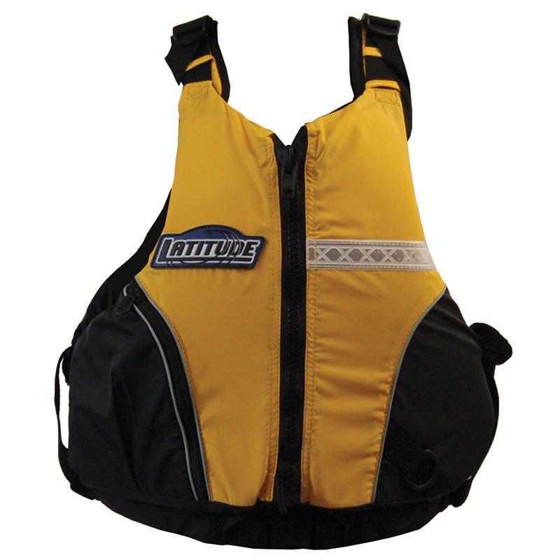 Kayak life jacket latitude canyon l50 yellow ebay for Best life jacket for kayak fishing
