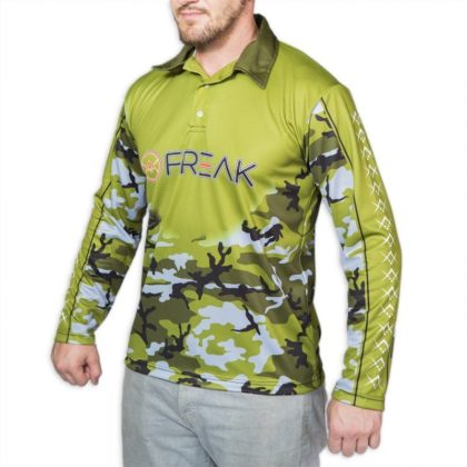Green Camo Freak Fishing Shirt