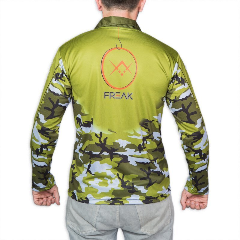 Freak army camo long sleeve fishing shirt freak sports for Camo fishing shirt