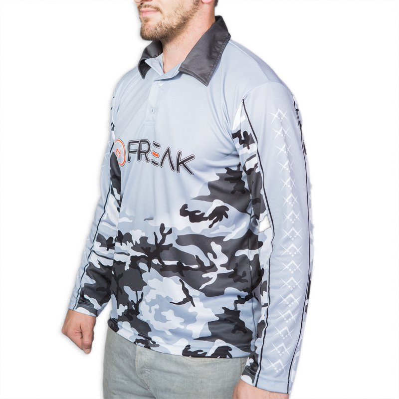 Freak black camo long sleeve fishing shirt freak sports for Camo fishing shirt