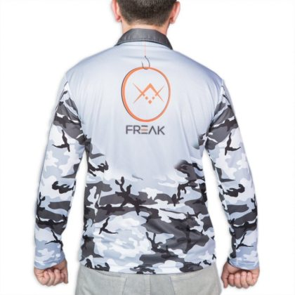 Black and White Camo Fishing Shirt Back