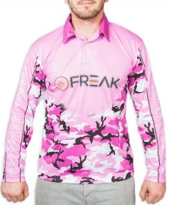 Purple Camo Long Sleeve Fishing Shirt Front - Freak Sports Australia