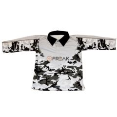 Kids Fishing Shirt Black White Camo - Freak Sports Australia