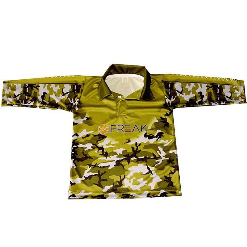 Freak army camo kids long sleeve fishing shirt for Camo fishing shirt