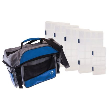 Jarvis Walker Large Lure Bag with 5 Lure Boxes Grey & Blue