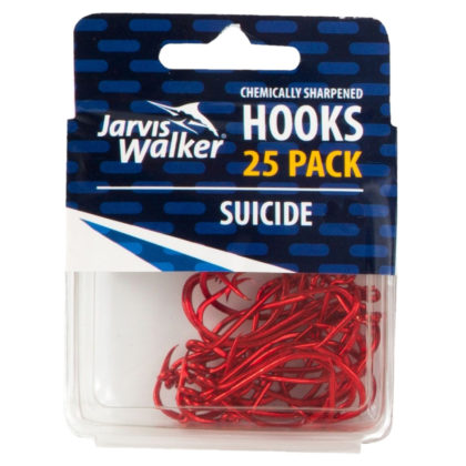Jarvis Walker Chemically Sharpened Red Suicide Fishing Hooks